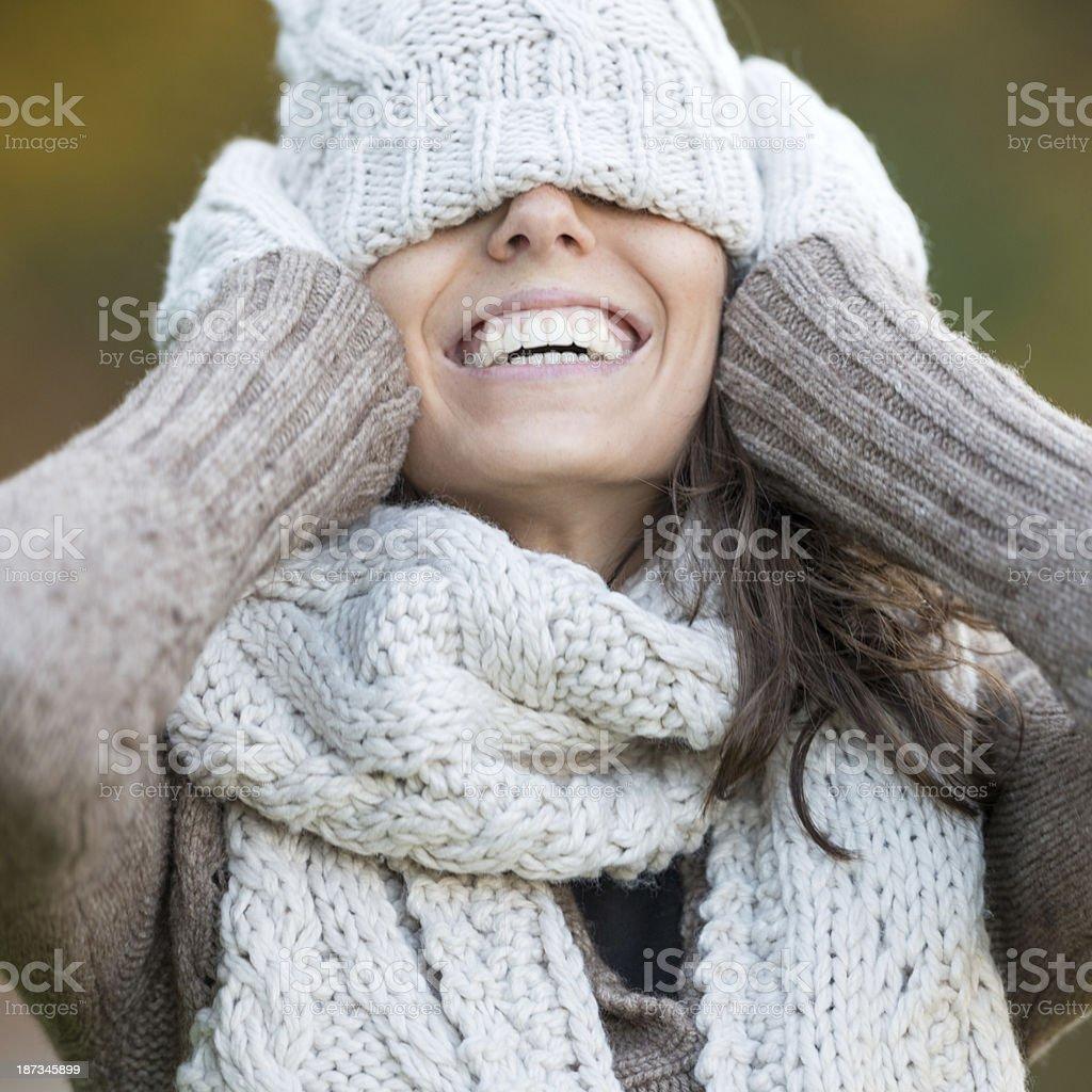 Happy Outdoor Portrait, Woman Covering Eyes (XXXL) stock photo