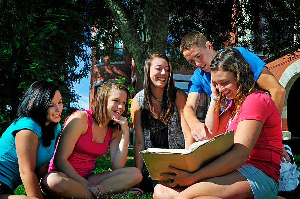 Happy Outdoor Student Study Group stock photo