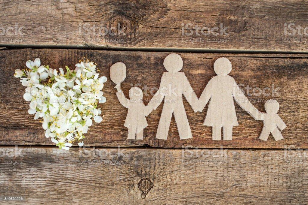Happy paper family stock photo
