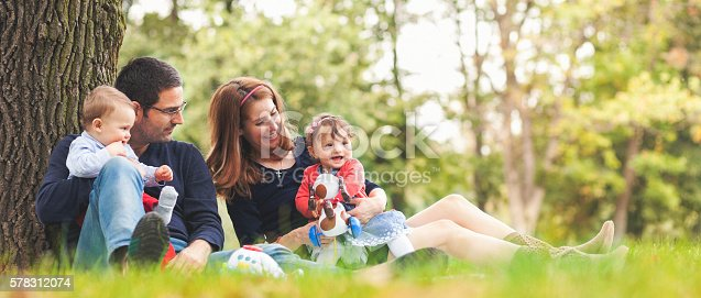 istock Happy parents with children outdoors having a good family time 578312074