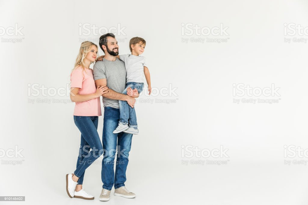 happy parents with son royalty-free stock photo