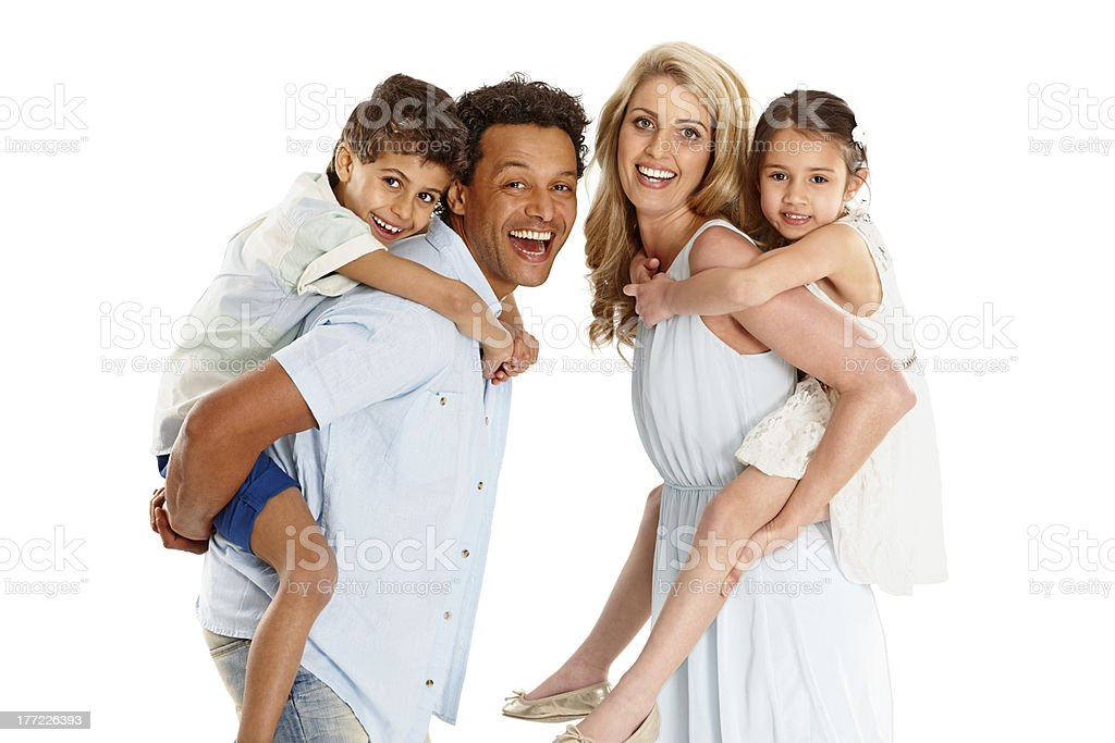 Happy parents with their kids royalty-free stock photo