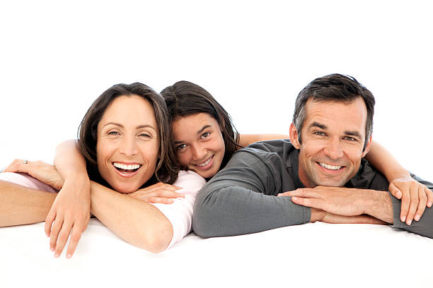 Happy parents with their single child stock photo