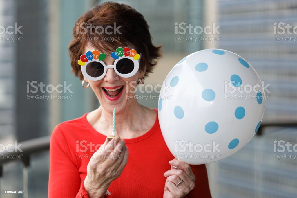 Fantastic Happy Party Woman With Balloon And Tiny Birthday Cake Stock Photo Birthday Cards Printable Opercafe Filternl