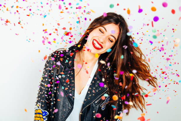 happy party woman with confetti - makeup fashion stock pictures, royalty-free photos & images
