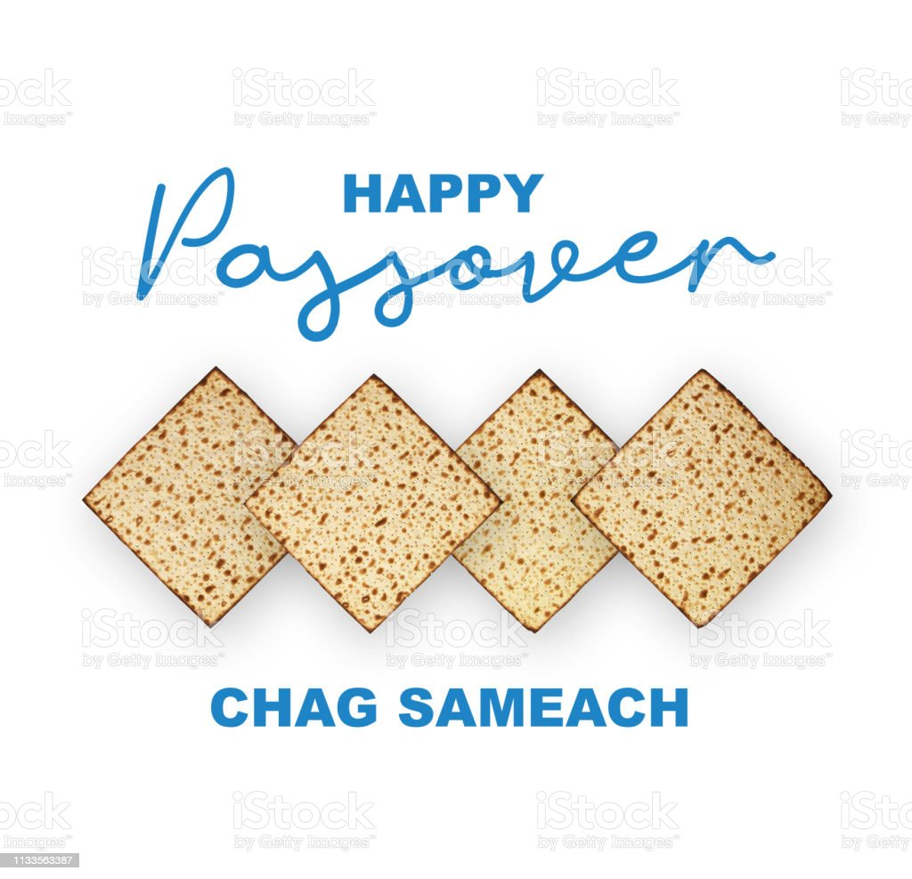 Happy Passover Jewish Holiday concept, studio image. Top view matzah isolated on white background, happy passover calligraphic text. stock photo
