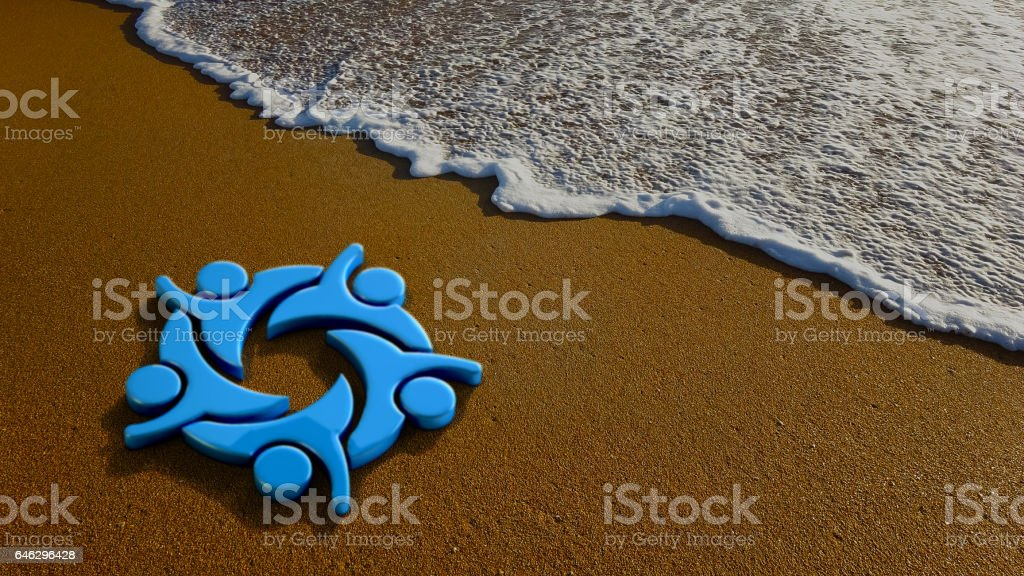 Happy People Group at the Beach. 3D Rendering Illustration stock photo