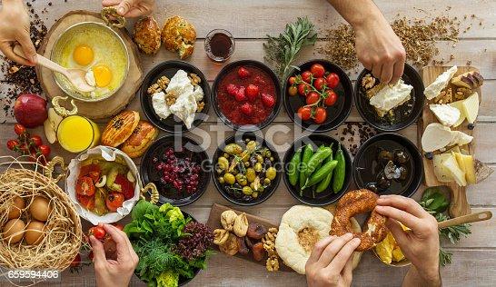 Happy People Having Breakfast