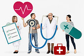 istock Happy people holding health care icons 1049227214