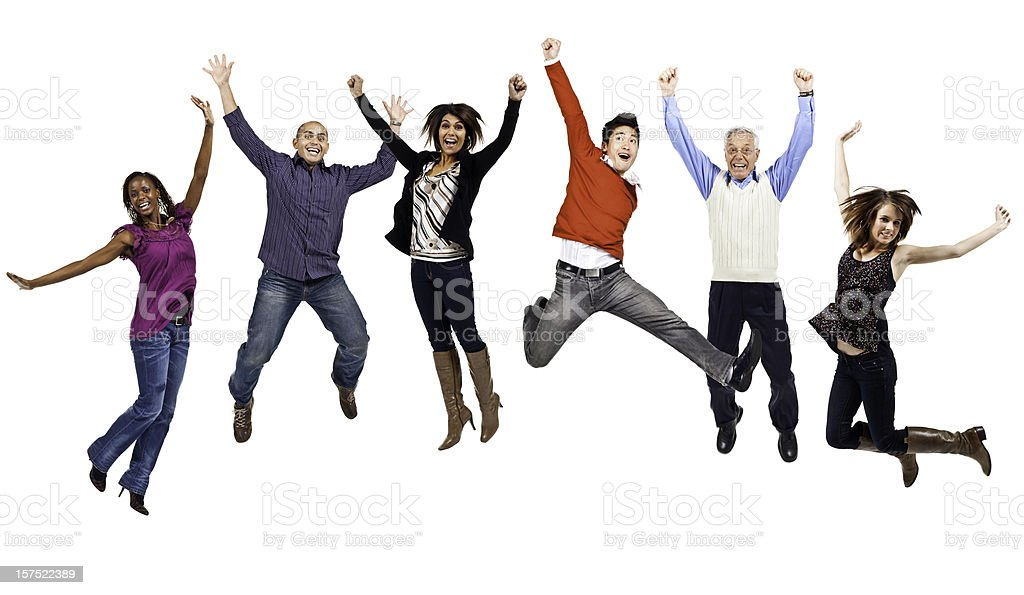 Happy People Jumping (Isolated; XXXL) stock photo