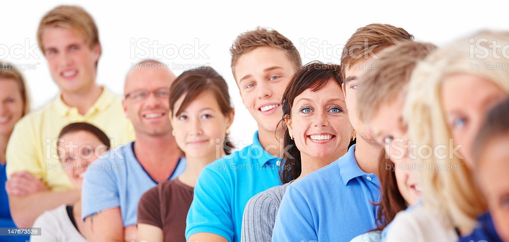 Happy people standing in a line royalty-free stock photo
