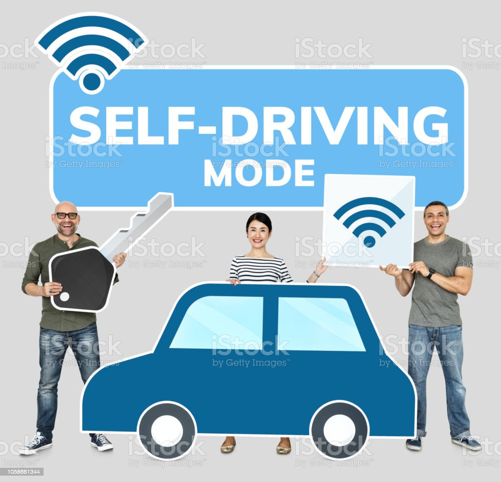 Happy people with a high tech car stock photo