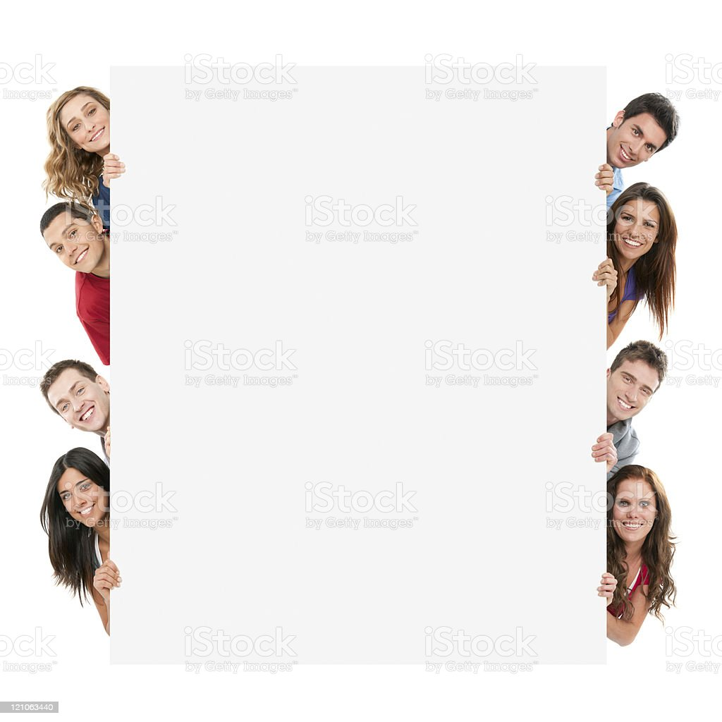 Happy people with banner stock photo