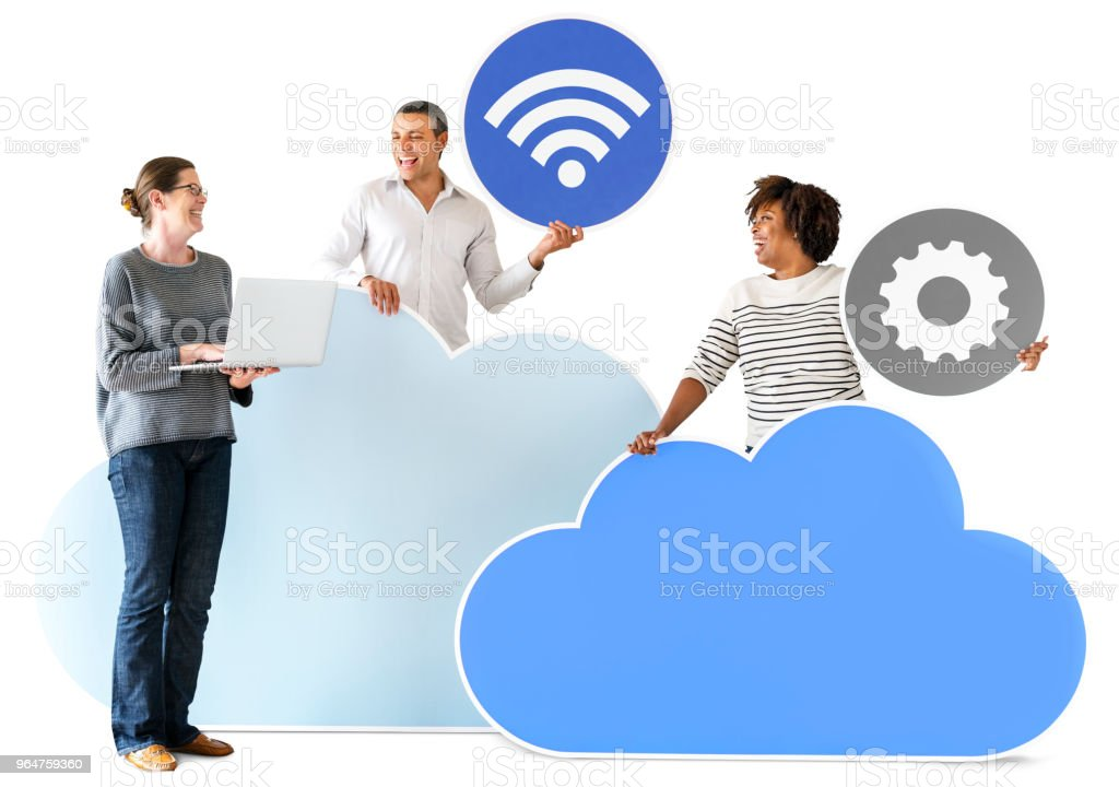 Happy people with cloud and technology icons royalty-free stock photo