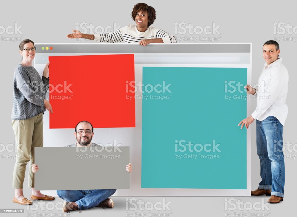 Happy people with internet browser - Royalty-free Blank Stock Photo