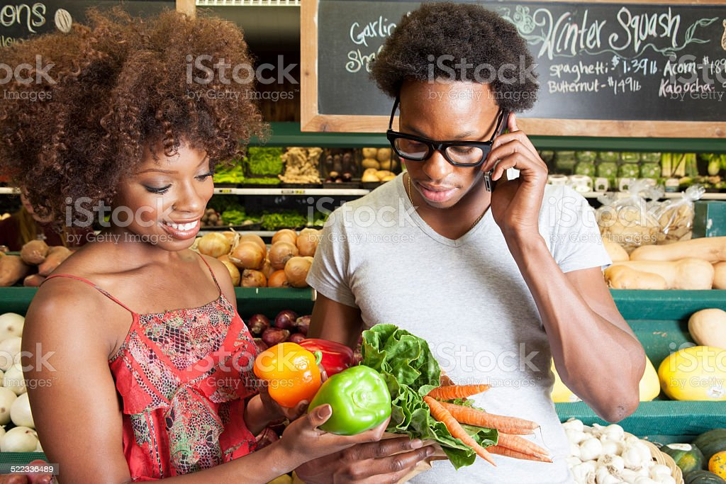 Happy person At the Grocery Store stock photo