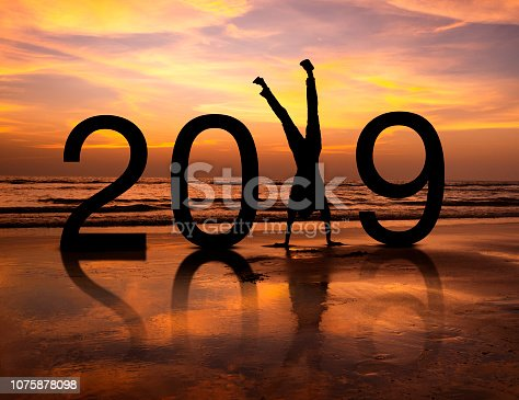 istock Happy person silhouette in New Year 2019 1075878098