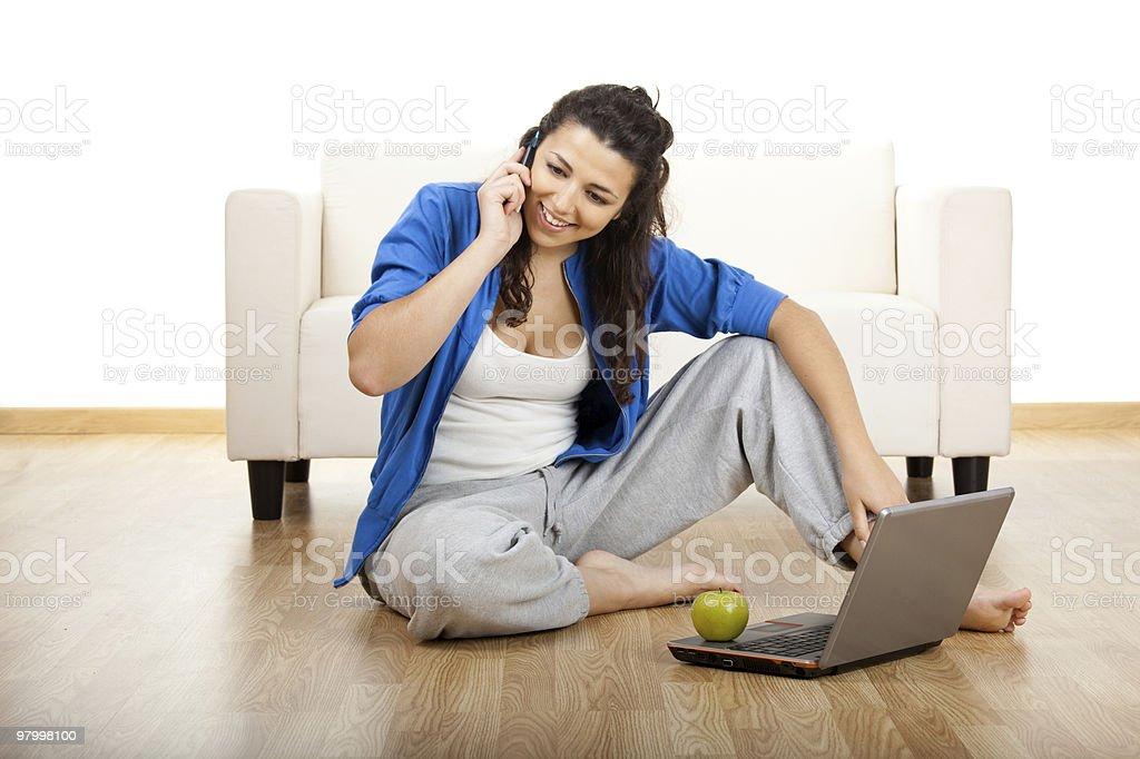 Happy phone call royalty free stockfoto