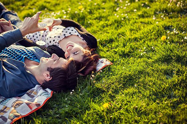 happy picknick paar mit weingläser - romantisches picknick stock-fotos und bilder