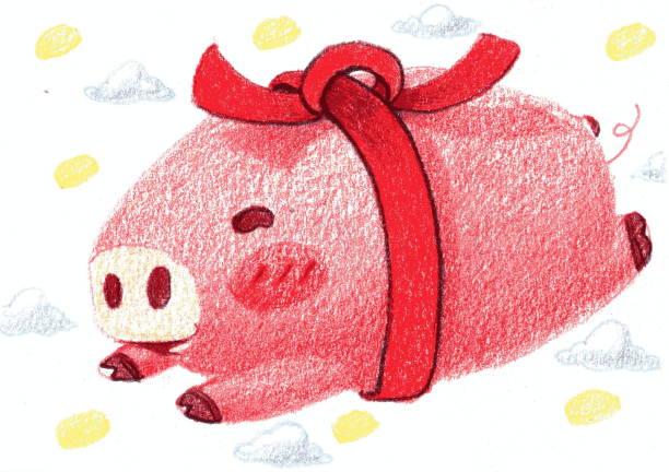 happy pig gift stock photo
