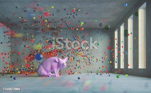 Happy pig. This is entirely 3D generated image.
