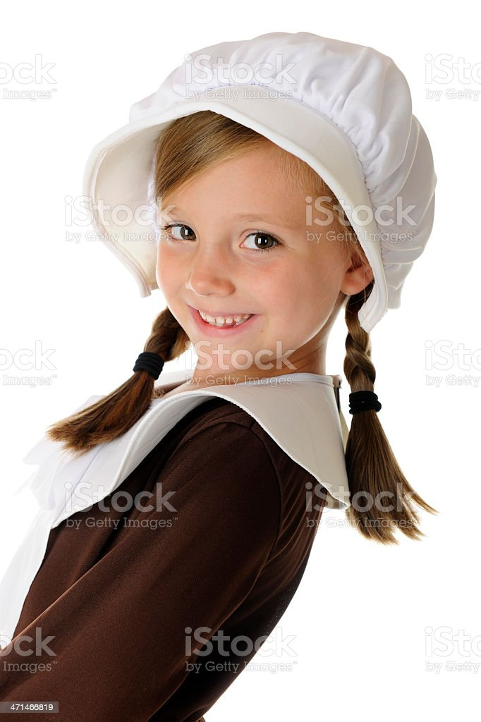 Happy Pilgrim Hello stock photo