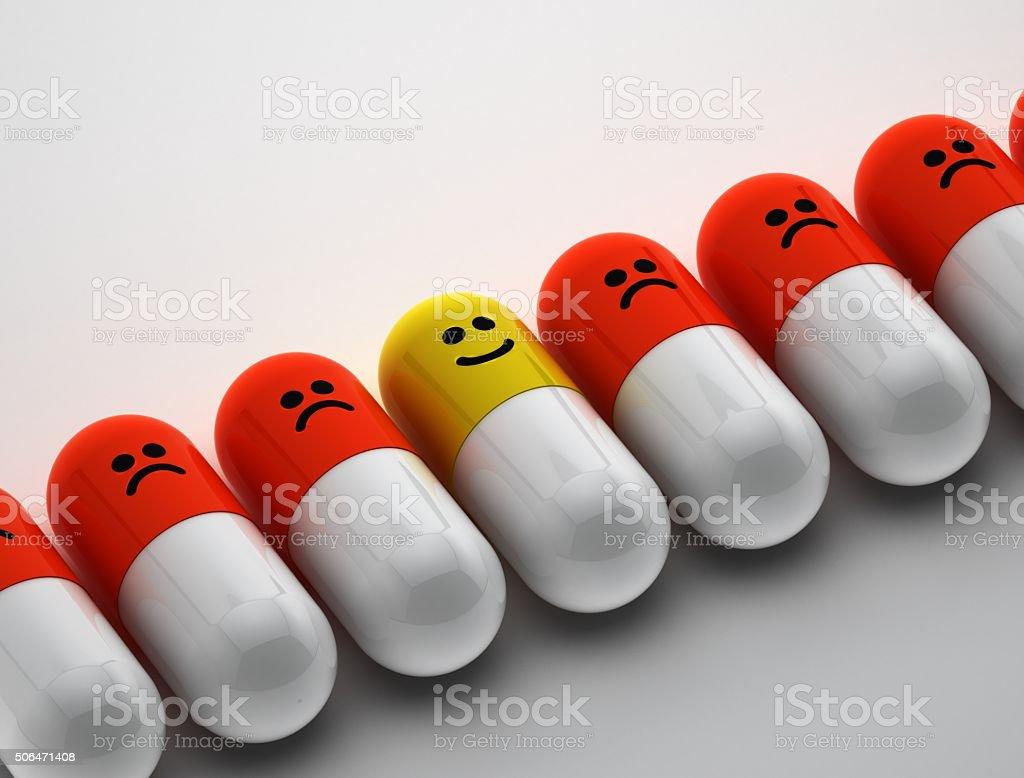 Happy pill stock photo