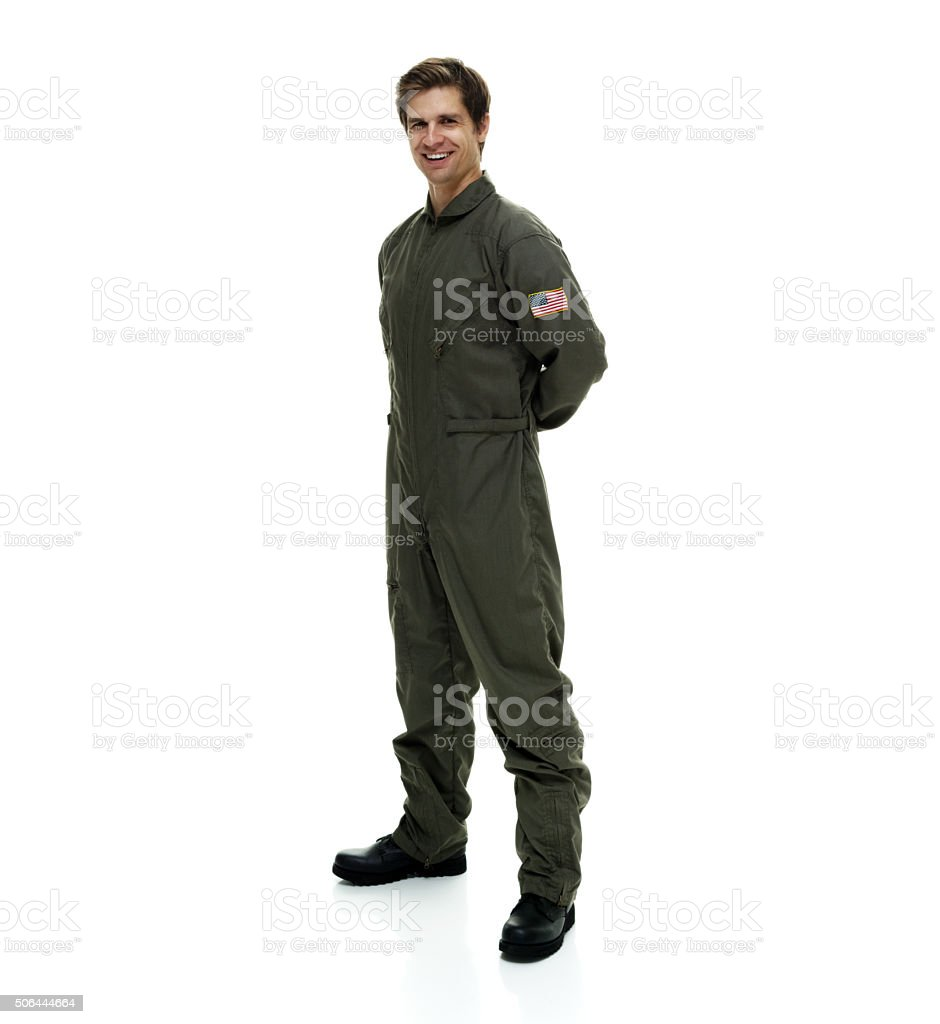 Happy pilot posing stock photo