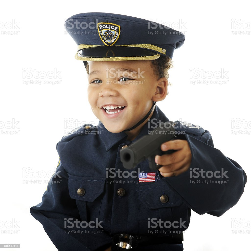 Happy Playing Cop royalty-free stock photo
