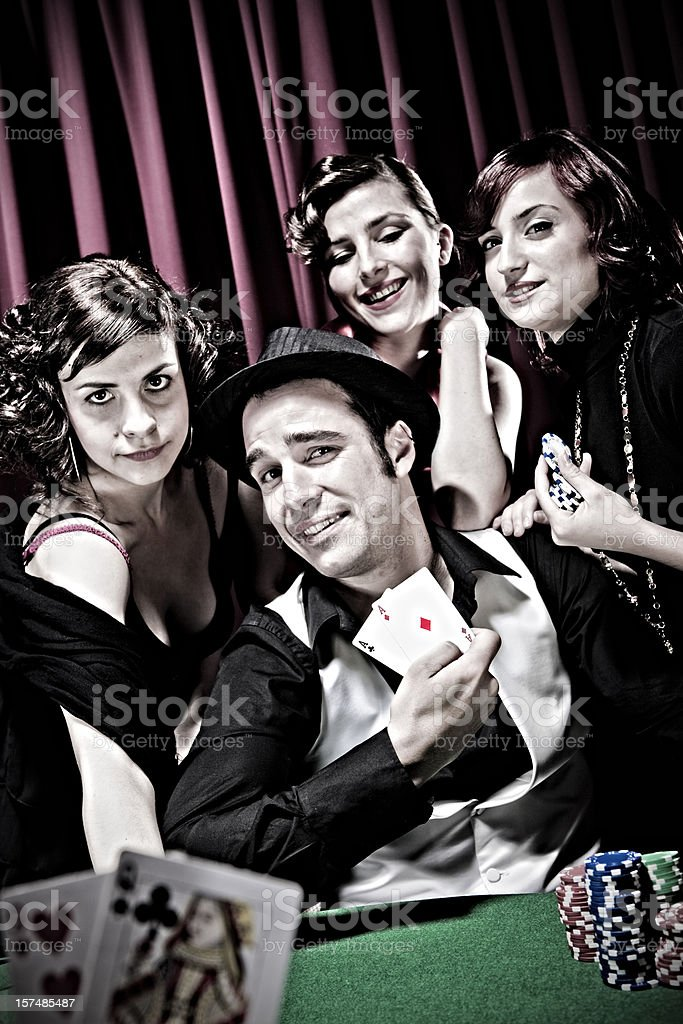 Happy poker player stock photo