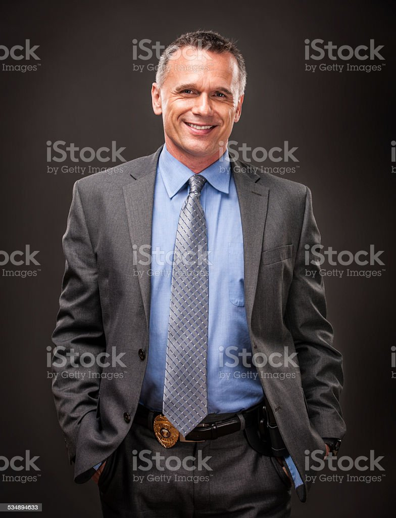 Happy Police Detective stock photo