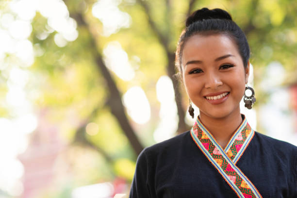 Happy portrait of a young thai woman stock photo