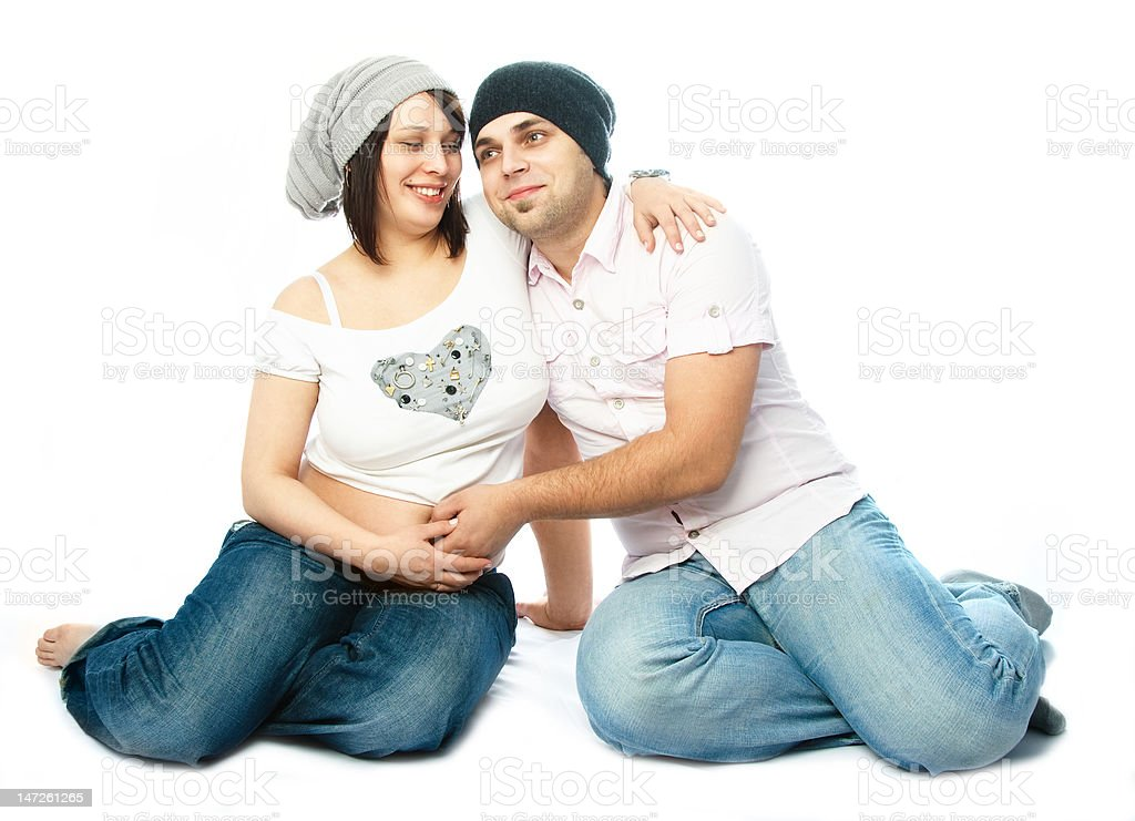 happy pregnant woman and her husband royalty-free stock photo