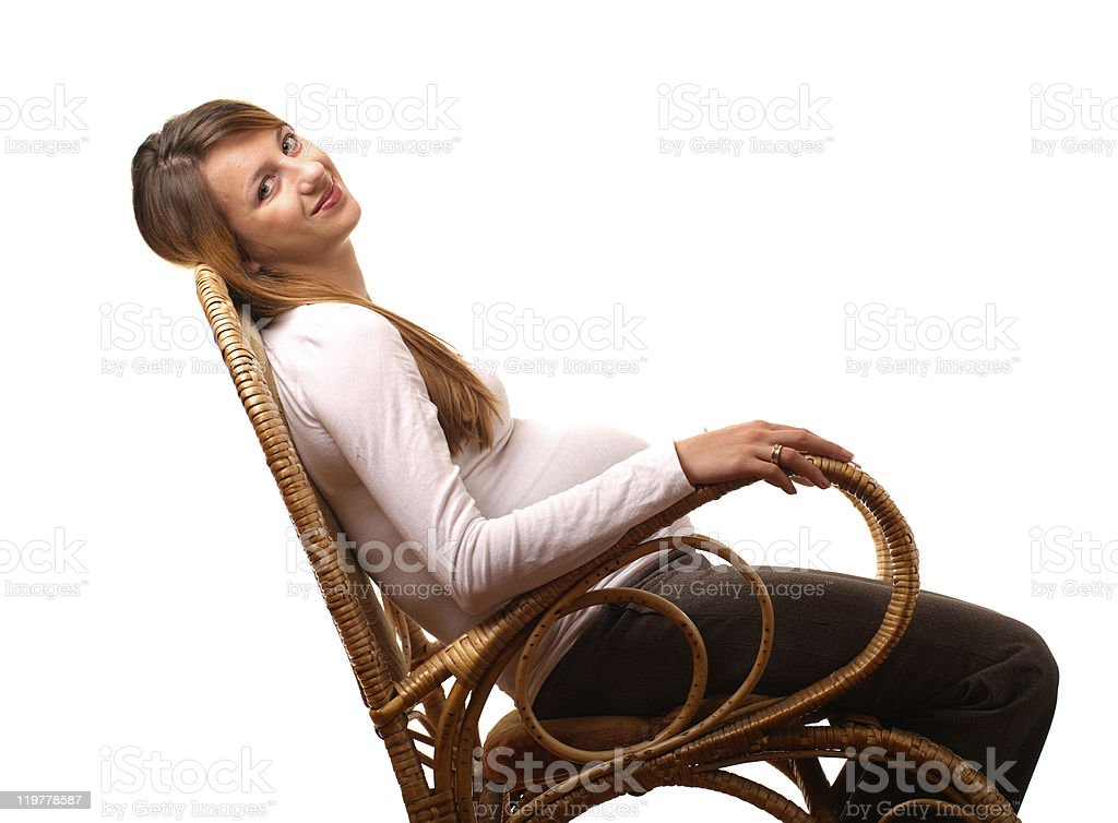 Happy pregnant woman stock photo