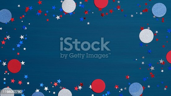 istock Happy Presidents Day background with decorations in American flags color and confetti star. USA Independence Day, Labor Day, Memorial Day, US election concept 1198052780