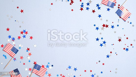 508026042 istock photo Happy Presidents Day banner mockup with American flags and confetti. USA Independence Day, American Labor day, Memorial Day, US election concept. 1197557855