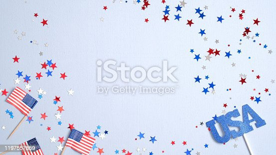 508026042 istock photo Happy Presidents Day banner mockup with American flags and confetti. USA Independence Day, American Labor day, Memorial Day, US election concept. 1197557859