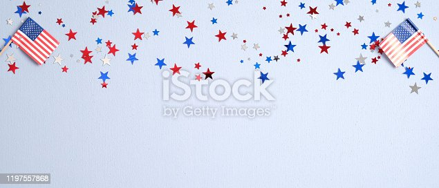 508026042 istock photo Happy Presidents Day banner mockup with American flags and confetti. USA Independence Day, American Labor day, Memorial Day, US election concept. 1197557868