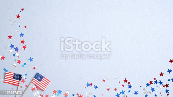 508026042 istock photo Happy Presidents Day banner mockup with American flags and confetti. USA Independence Day, American Labor day, Memorial Day, US election concept. 1197557870