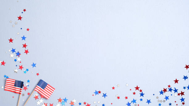 Happy Presidents Day banner mockup with American flags and confetti. USA Independence Day, American Labor day, Memorial Day, US election concept.