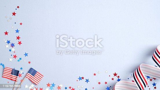 508026042 istock photo Happy Presidents Day banner mockup with American flags, confetti and ribbon. USA Independence Day, American Labor day, Memorial Day, US election concept. 1197557865