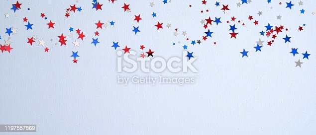 508026042 istock photo Happy Presidents Day banner mockup with confetti stars. USA Independence Day, American Labor day, Memorial Day, US election concept. 1197557869