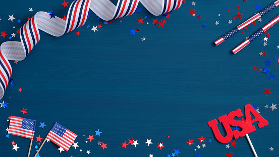 istock Happy Presidents day banner template with American flags, grosgrain ribbon, sign USA and confetti stars. Presidents day celebration poster template. USA Independence Day or Presidents day concept 1198052727