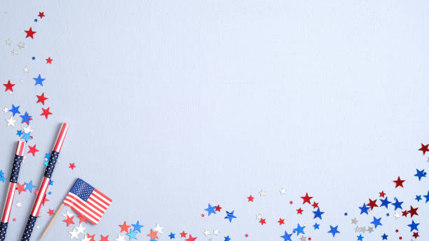 Happy Presidents Day banner with American flag, drinking straws and confetti on blue background. USA Independence Day, American Labor day, Memorial Day, US election concept.