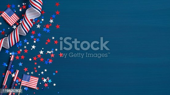 Happy Presidents Day concept. Grosgrain ribbon, American flags and confetti stars on blue background with copy space. Web banner template for USA Independence day or Memorial Day.