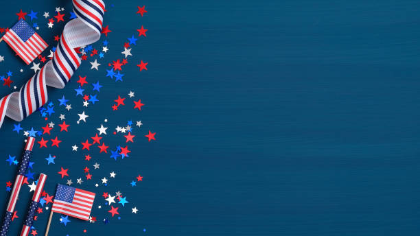 happy presidents day concept. grosgrain ribbon, american flags and confetti stars on blue background with copy space. web banner template for usa independence day or memorial day. - happy 4th of july stock pictures, royalty-free photos & images