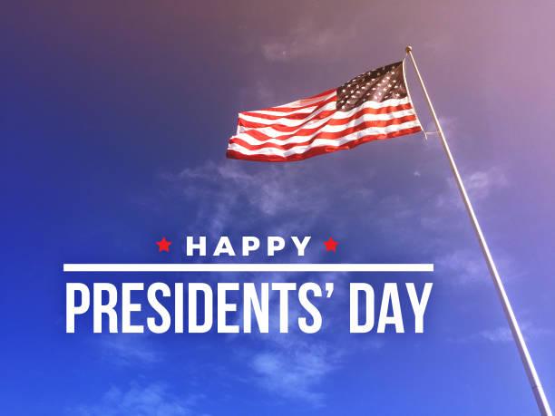feliz dia do presidente texto com bandeira americana - presidents day - fotografias e filmes do acervo