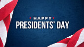 Happy Presidents' Day Typography With American Flags Over Blue Texture Background