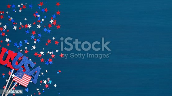 971061452 istock photo Happy Presidents Day USA concept. Festive flat lay style composition with sign USA, grosgrain ribbon in American flag colors and confetti stars. Wide banner template for Independence day or Labor day. 1198052828