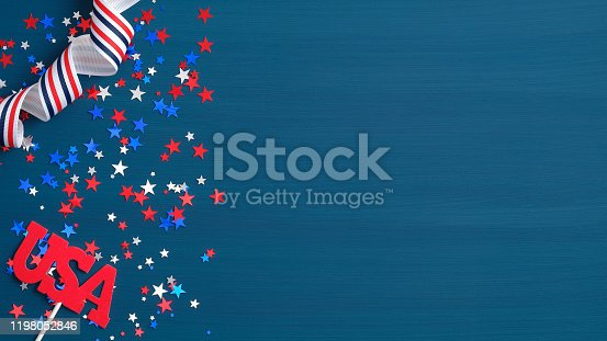 971061452 istock photo Happy Presidents Day USA concept. Festive flat lay style composition with sign USA, grosgrain ribbon in American flag colors and confetti stars. Web banner template for Independence day or US election 1198052846
